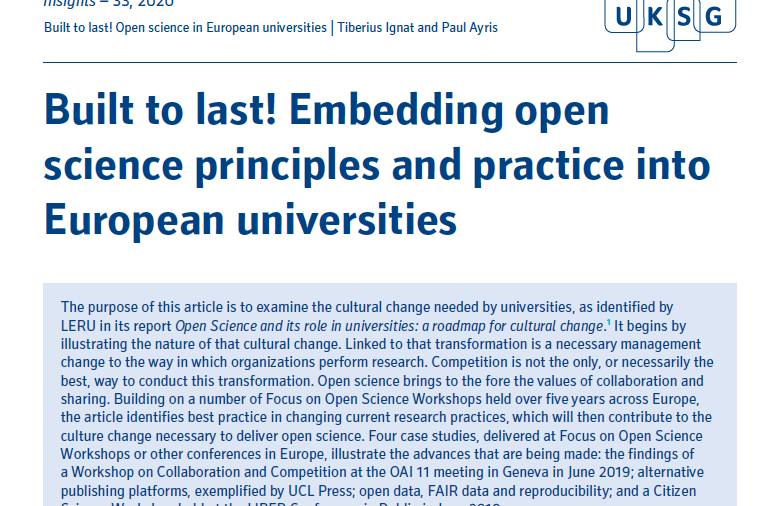 Built to last! Embedding open science principles and practice into European universities