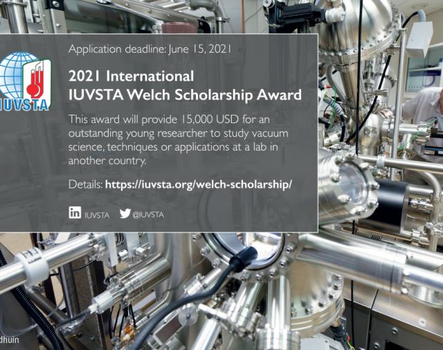 Международният съюз за вакуумна наука, техника и приложения награждава млади изследователи с 2021 International M. W. Welch Scholarship Award